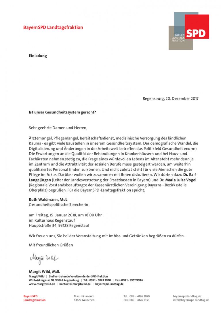 Einladung zum Gesundheitsempfang am 19.01.2018 in Regenstauf